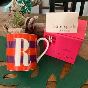 "NEW 🔥 Kate Spade ""R"" Initial Lenox Mug"
